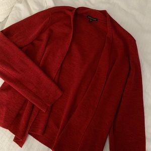 Eileen Fisher red open cardigan